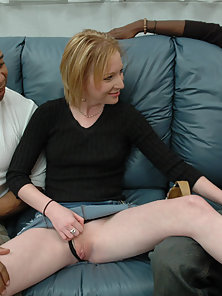 Sexy blond creature impaled by a thick man spear.