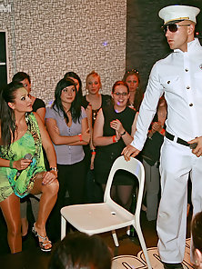 Chicks fucking a sailor at a club