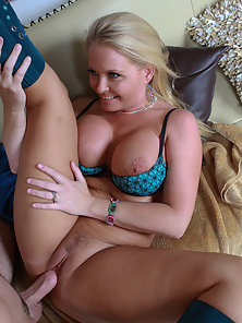 Mature blonde with big tits gets filled
