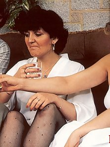 Two retro ladies with sensual stockings sharing two guys