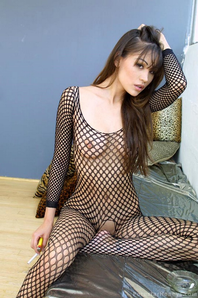asian fishnet pussy - ... Jade Hsu smoking a cig while showing her asian pussy while wearing full  body fishnet stockings ...