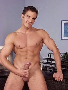 Hunk strips his clothes showing off a perfect body oozing sex appeal.