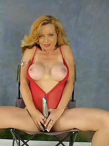 Mature Hot Blonde in Red Lingerie Playing Dildo