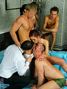 Guys at a big bisexual pool party