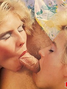 Two horny retro blondes getting stuffed by one lucky guy