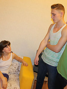 Dude sits and looks at how stranger is banging his cute GF