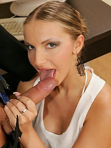 Lovely blonde nymphet sucking and riding a massive schlong on the chair