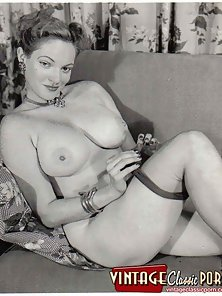 Vintage chick with huge fun bags