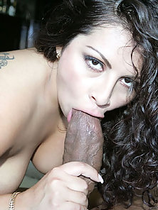 Thick latina women pleases a black cock for the prize of cum on her body