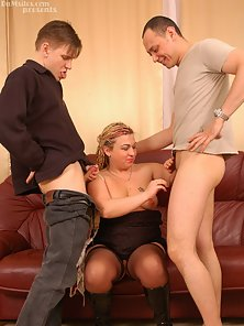Mature blonde deep-throats rock-hard pricks