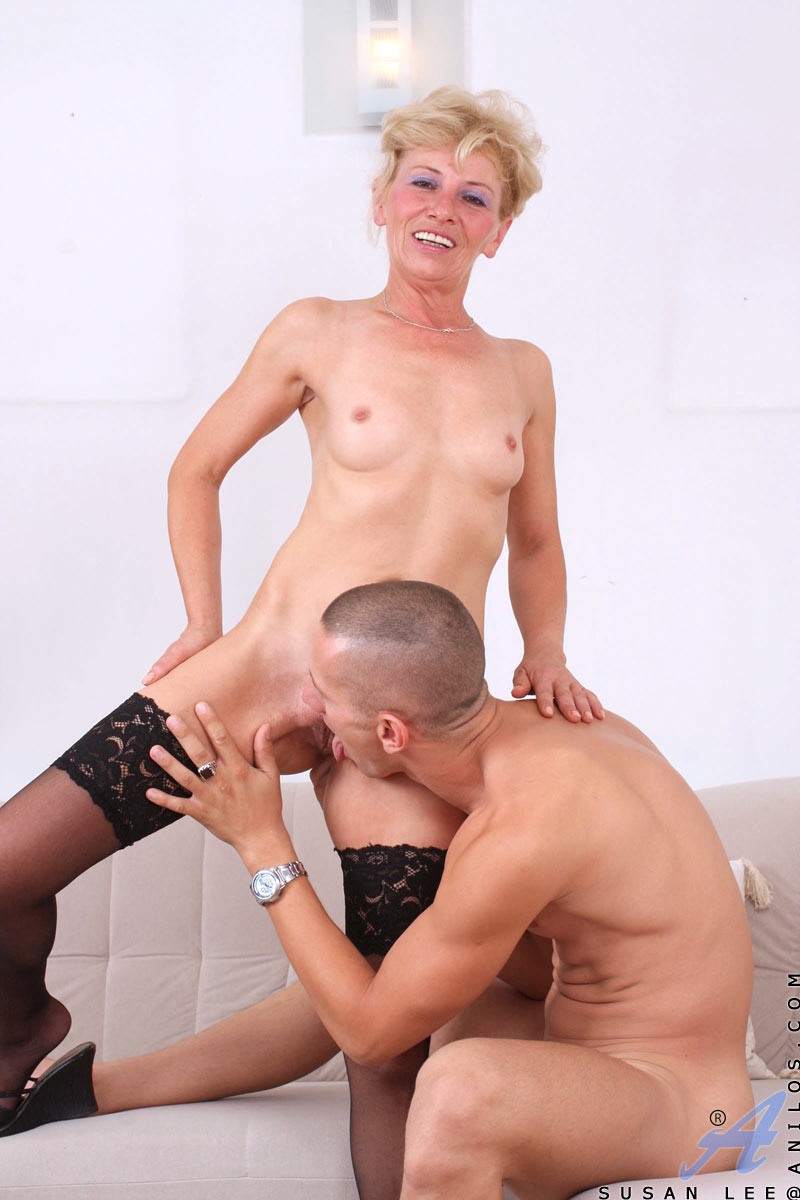 Blonde milf gags on cock
