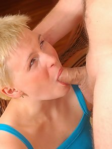 Sexy blonde crying with incredibly brutal blowjob