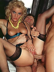 Cheap retro lady fucked by two big guys