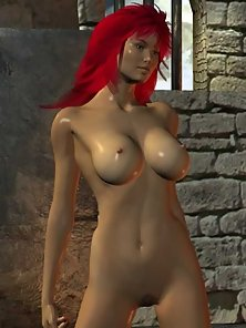 Nude redhead toon babe in dungeon