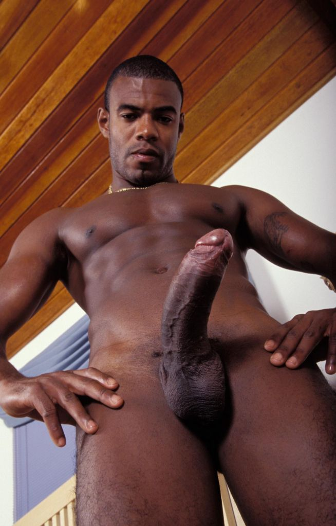 ... Young Muscled Black Model Playing with his Big Black Dick ...
