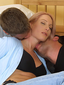 Blonde babes tits shared by two horny dudes
