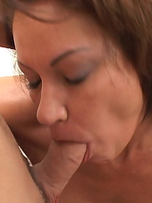 Lusty woman slurping hard on a young pistol
