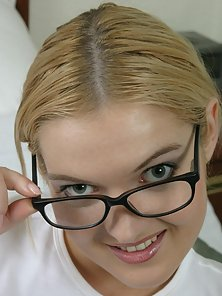 Sweet Czech girl removes her glasses while fucking