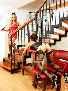 A horny tied up brunette slapped