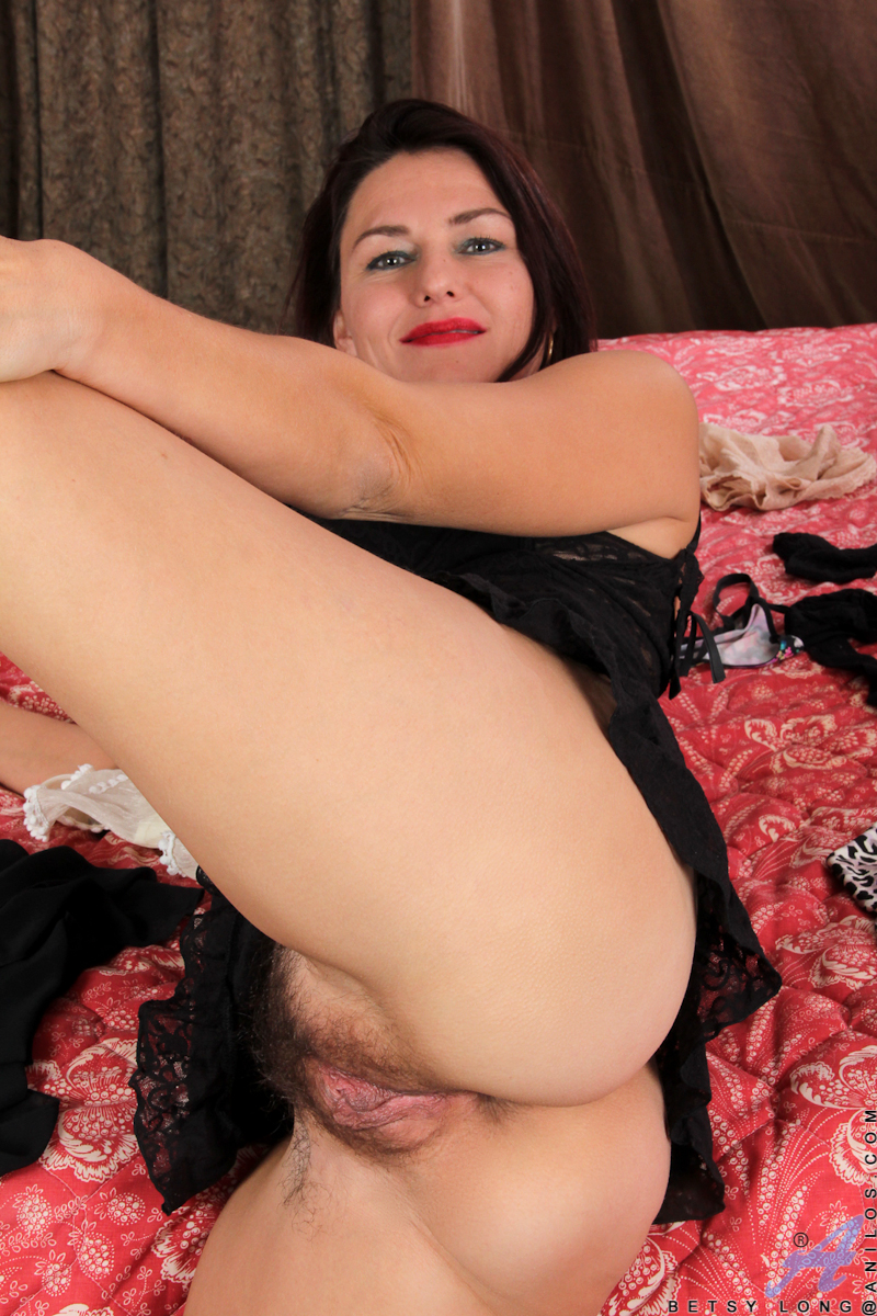 Lingerie Hairy - ... Betsy Long wears seductive lingerie and plays with her pink hairy pussy  ...