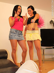 Two chicks jerking solid schlong