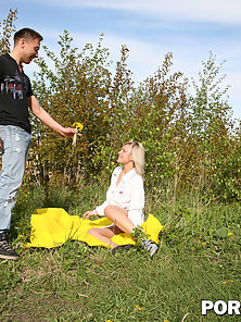 Blonde girl gets all of her holes banged very hard outdoors