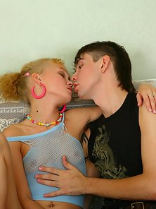 Adorable blonde teen cutie sucking and fucking