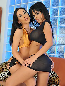Hot lesbian brunettes finger fucking each others pussy