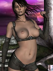 Big boob 3D toon babe topless outdoors