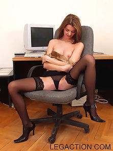 Pussy And Foot Play In The Office