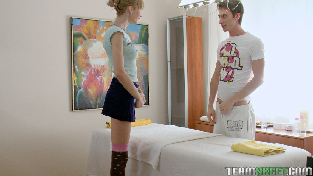 Adorable blonde Russian teen gets oiled down and then banged ...