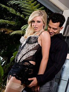 Kylee Reese in stockings gets nailed by a big cock