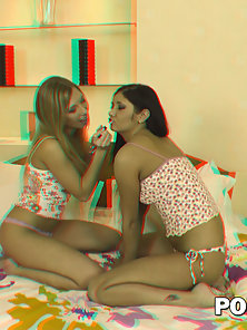 Two sex appeal well-tanned lesbians play with big sex toys