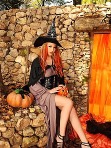 Hot witch Danielle Maye's Halloween masturbation