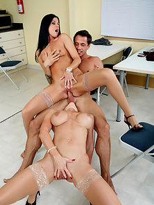 Student fucks two of his hot teachers