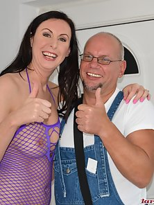 Lara Latex in a threesome with 2 bald guys and anal sex