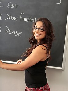Nice titted Latina schoolgirl gets her tight pussy banged in class and takes a load