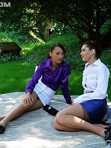 Picknicking clothed babes drilled