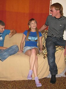 Really skinny blond teen giving head to a total stranger