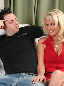 Cute blonde housewife riding her stepsons younger cock