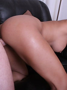Gorgeous Gizzelle crams man meat in her mouth.