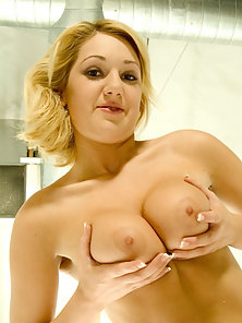 Natural round titty blonde gets filled with a big cock in her shaved snatch