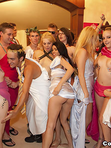 Wild horny sorority girls get fucked at this orgy!
