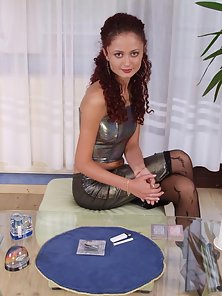 Kelly playing cards in sexy black stockings