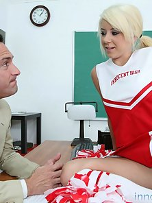 Blonde teen cheerleader gets fucked and facialized afterschool