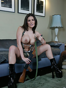 Austin Kincaid is a badass in camo as she sucks a cock before hopping on for a ride.