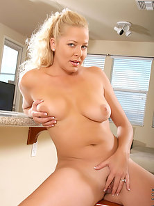 Gorgeous milf jacy andrews masages her colossal breasts and spreads her silky legs exposing her crea