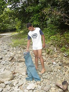 Godd looking latino boy get naked in the stony river