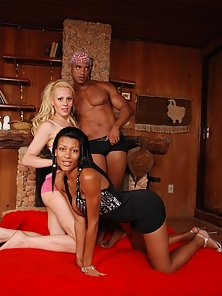 Explicit interracial action with two trannies and a hot guy