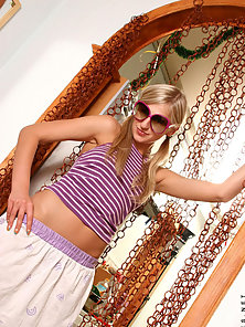 Sweet blonde naked teen strips off and showing her glorious body